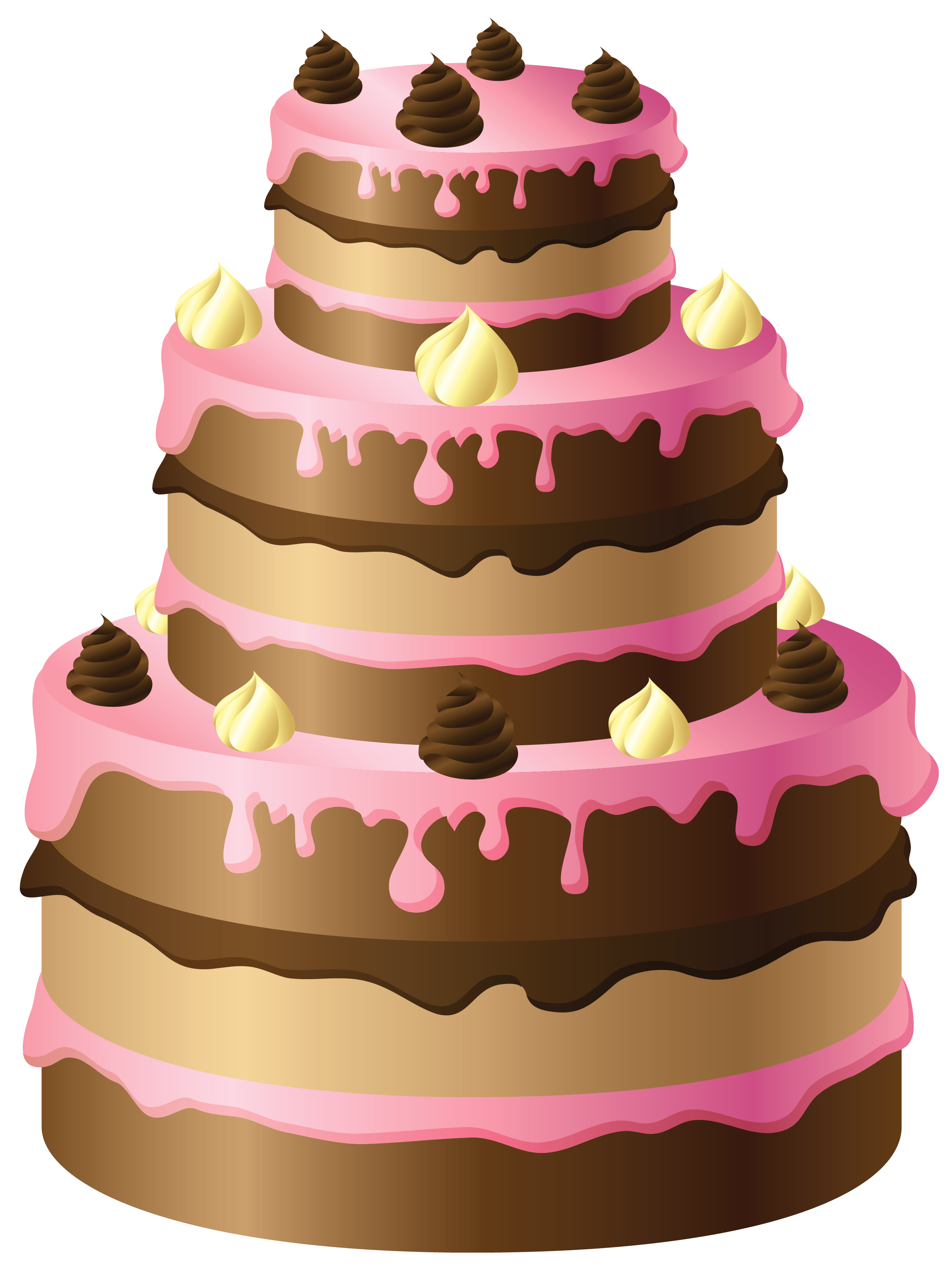 Large chocolate with pink. Clipart cake baked goods
