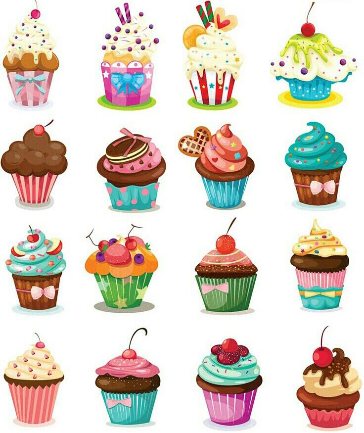 Yummy delicious cake muffins. Clipart cupcake mini cupcake
