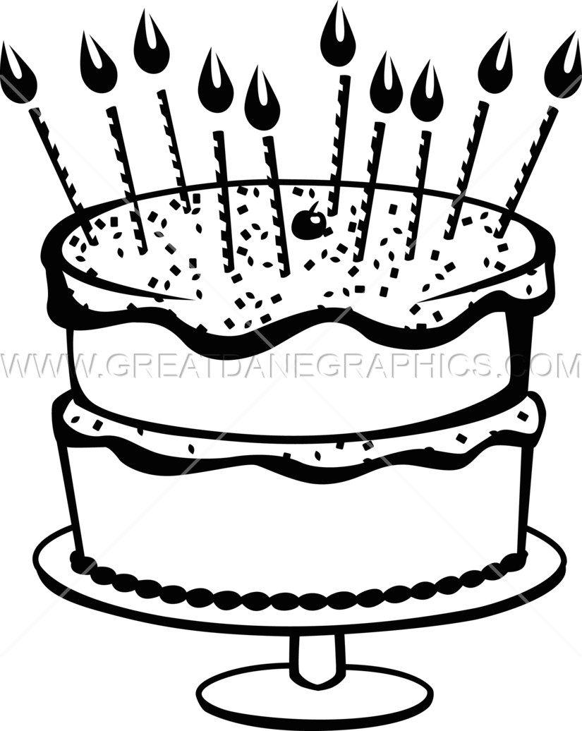 Clipart cake black and white. Birthday with sprinkles production
