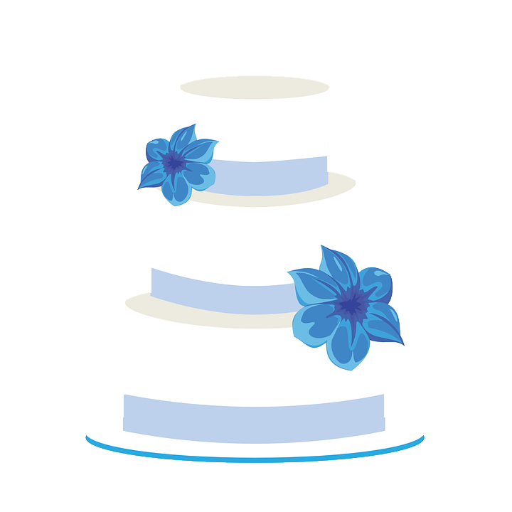 Wedding simple cakes birthday. Clipart cake blue