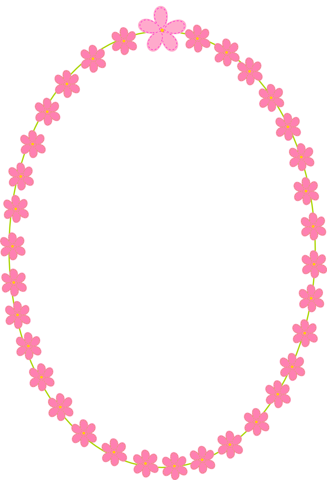 Frame clipart summer. White and pink flowers