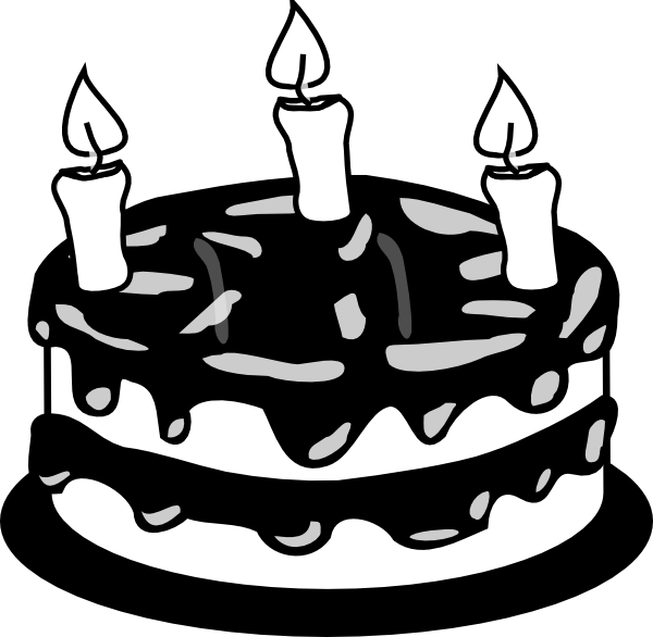 yr birthday bw. Clipart cake cake slice