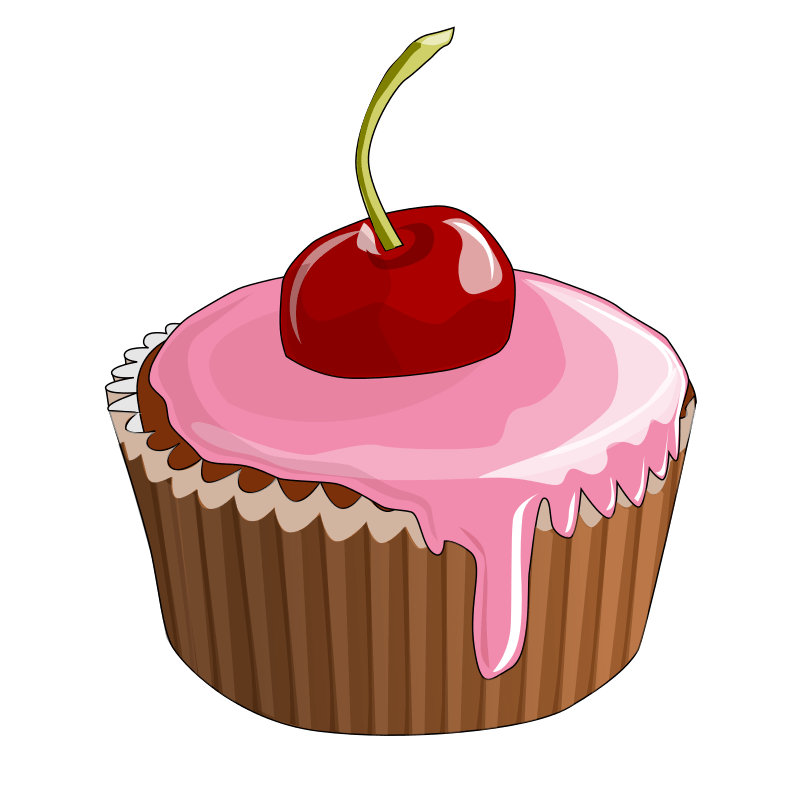 Cupcake cherry on top. Clipart cake cartoon
