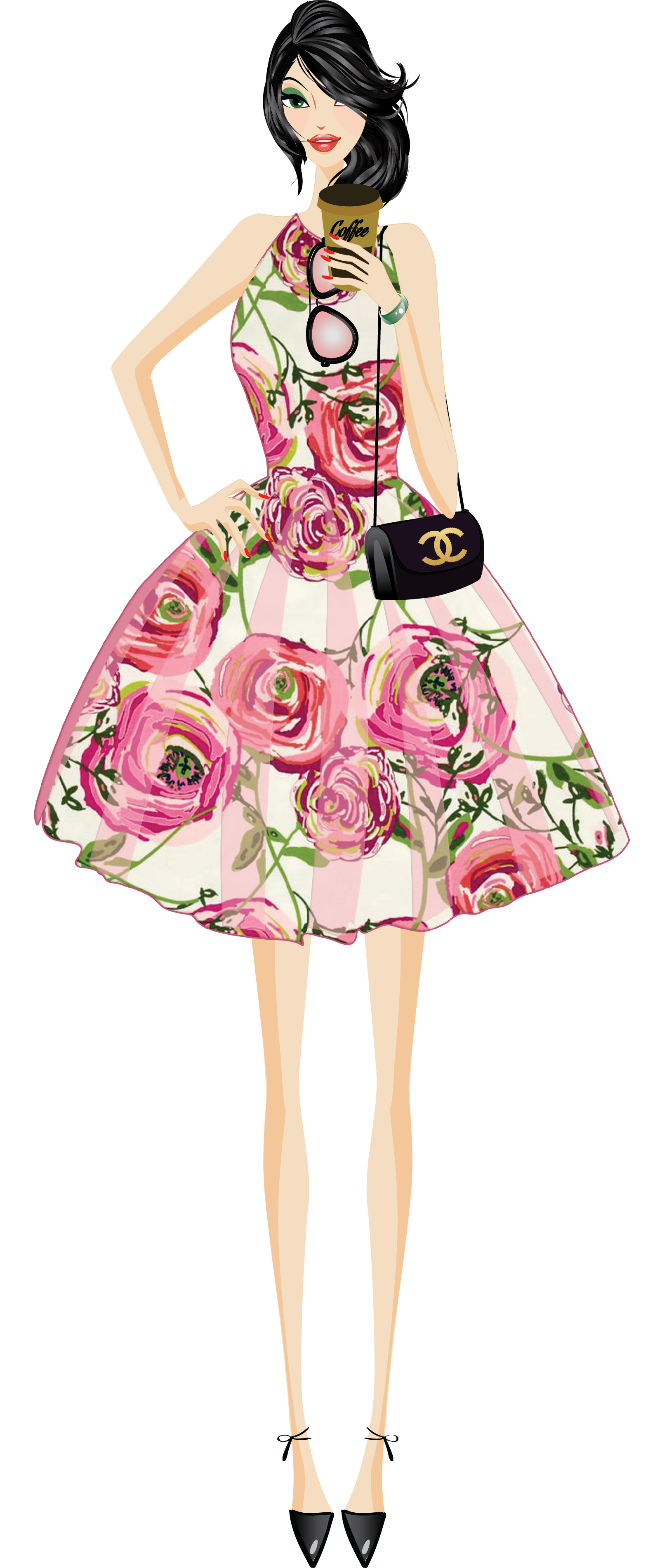 Fashion girl clip art. Planner clipart dinner