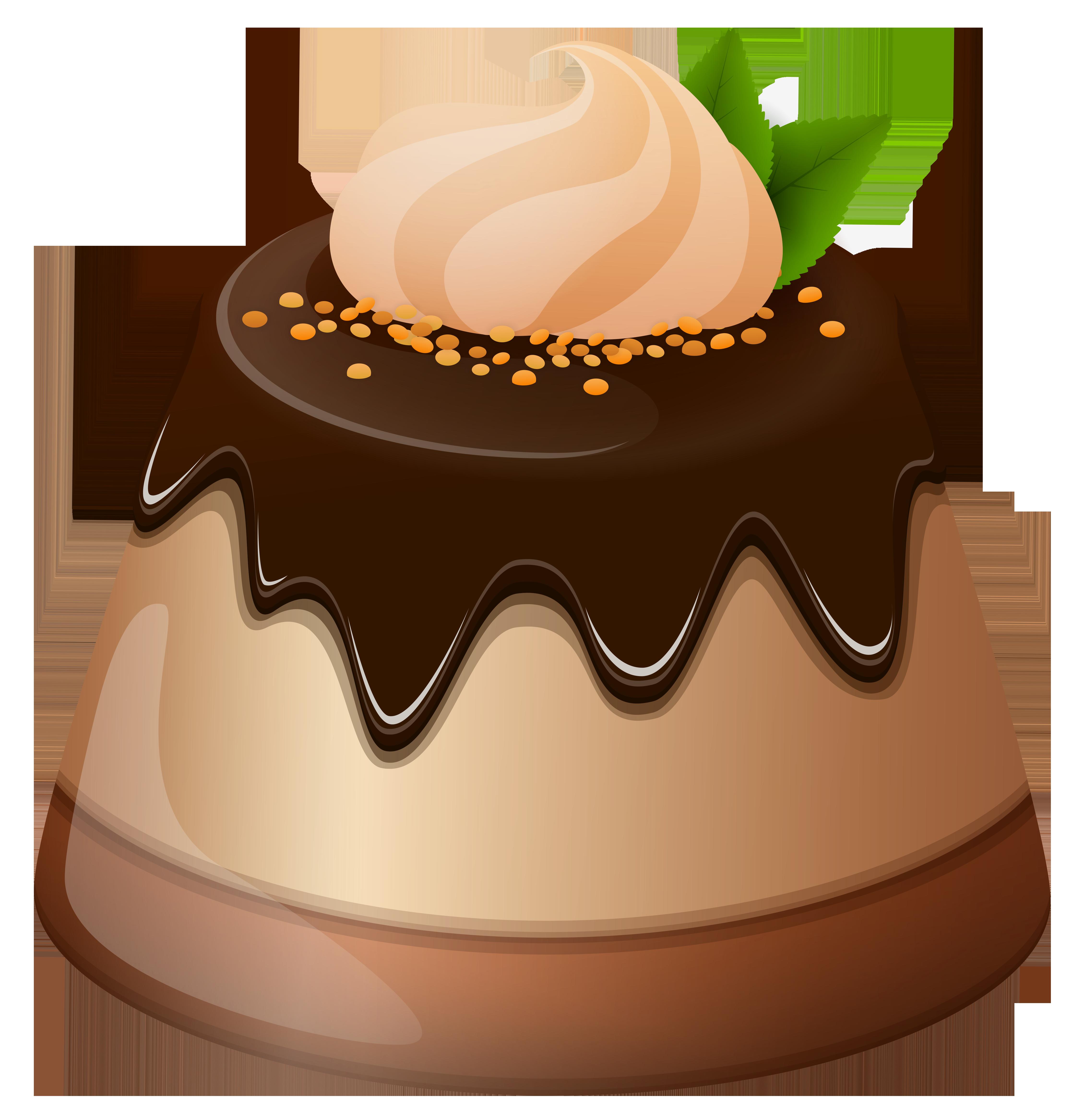 Chocolate mini cake png. Yogurt clipart pudding
