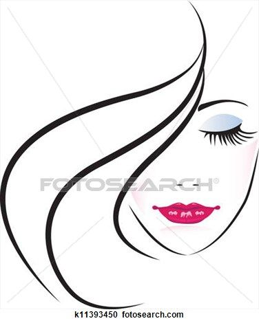 Of pretty woman silhouette. Clipart cake face