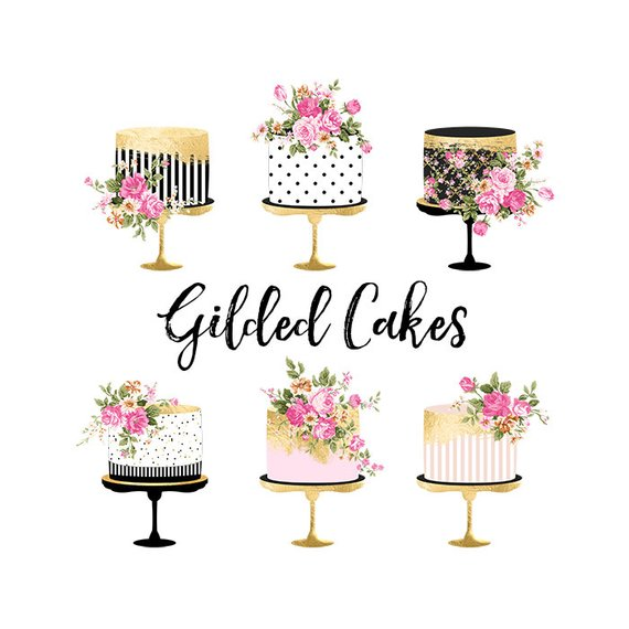 Clipart cake floral. Gold foil shabby chic