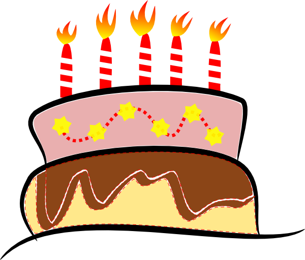 Birthday with candles clip. Clipart cake gambar