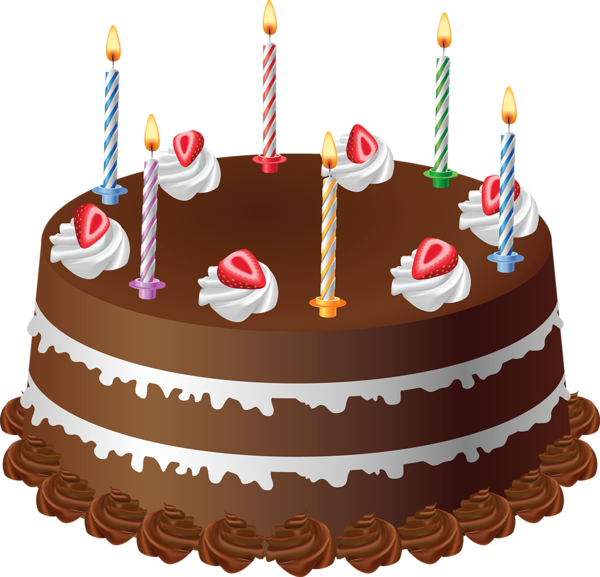 Chocolate with candles art. Desserts clipart sponge cake