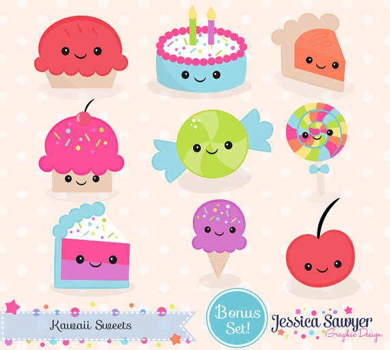 Clipart cake kawaii. Instant download and vectors