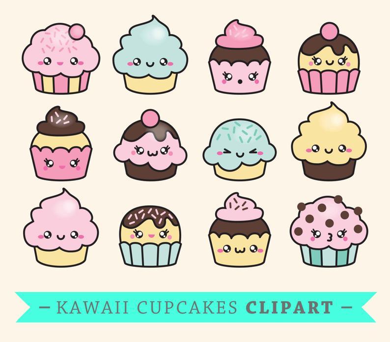 Clipart cake kawaii. Premium vector cup cakes