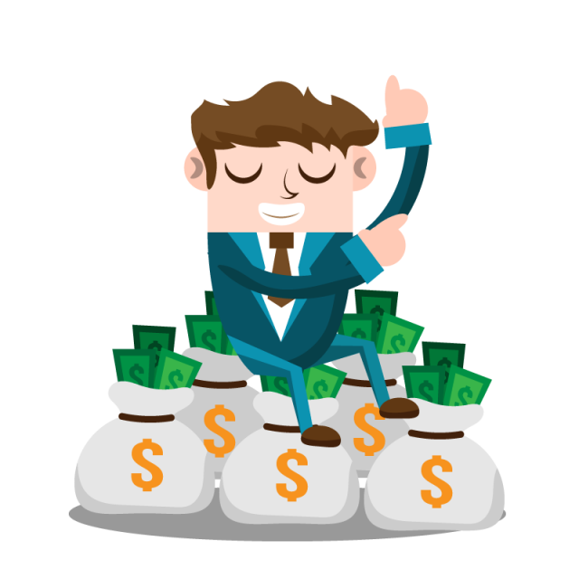 Business man with money. Discussion clipart company person