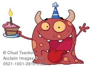 A happy red with. Clipart cake monster