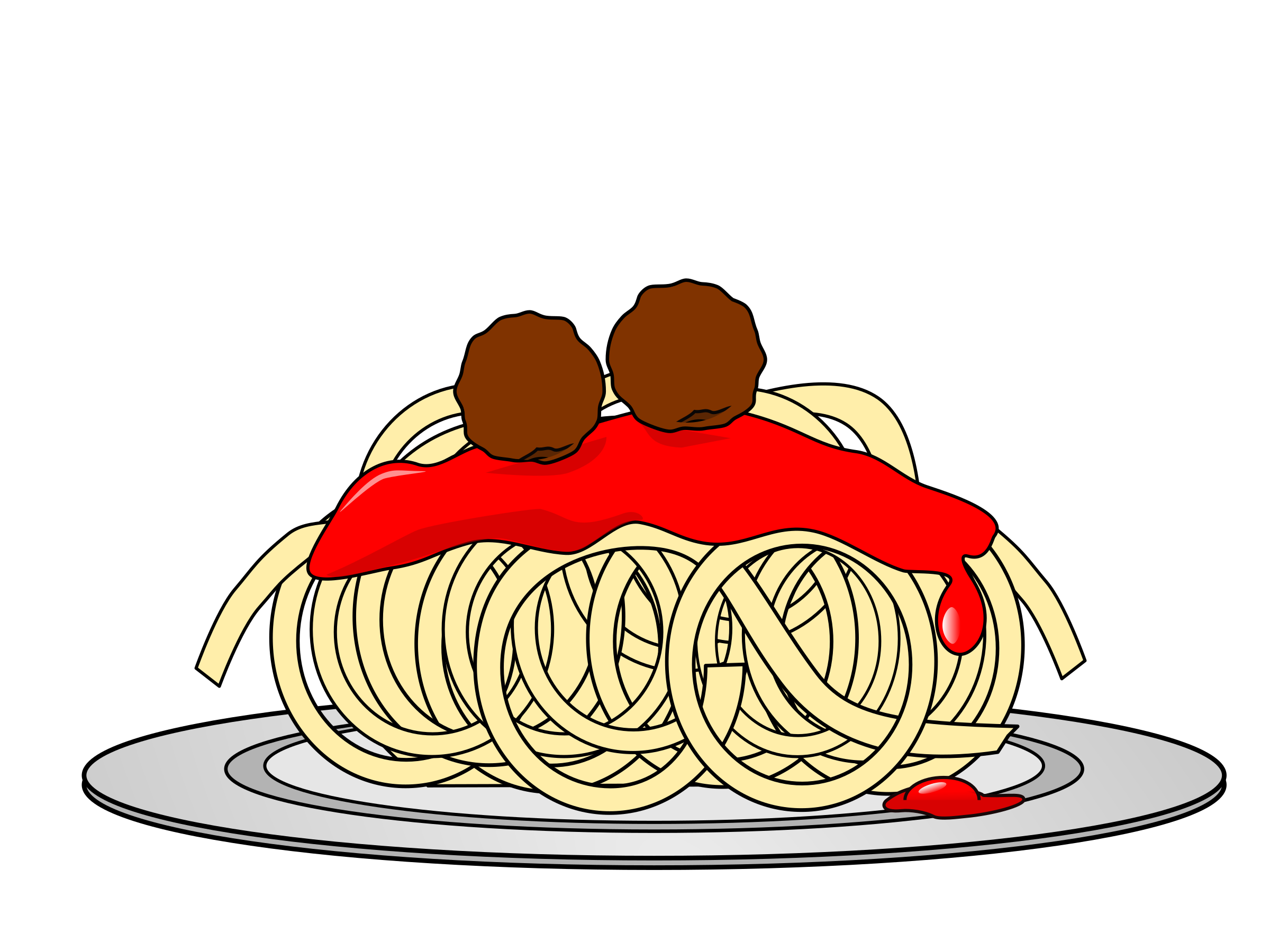 Spaghetti and meatballs monster. Desserts clipart animation