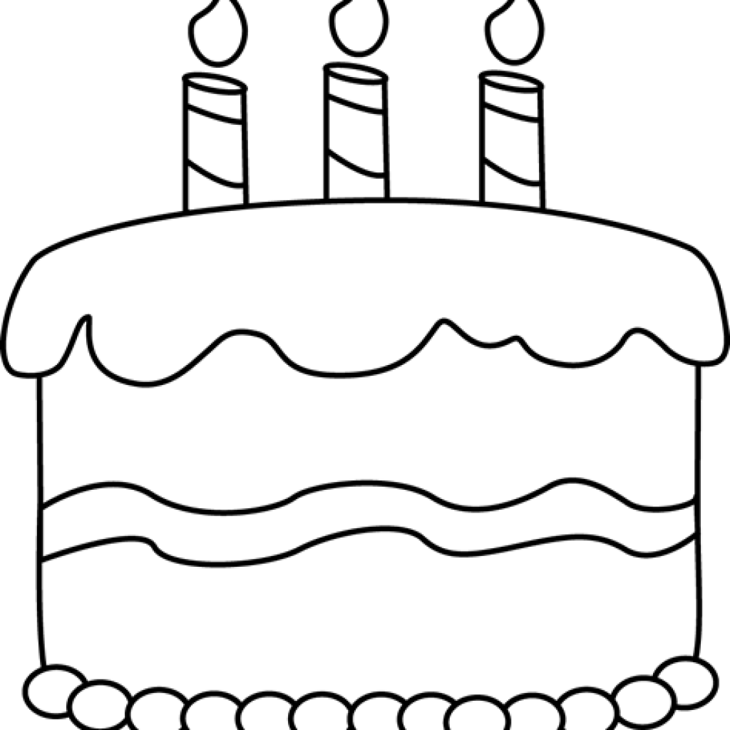 Birthday black and white. Clipart cake music