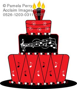 Music art notes clip. Red clipart cake