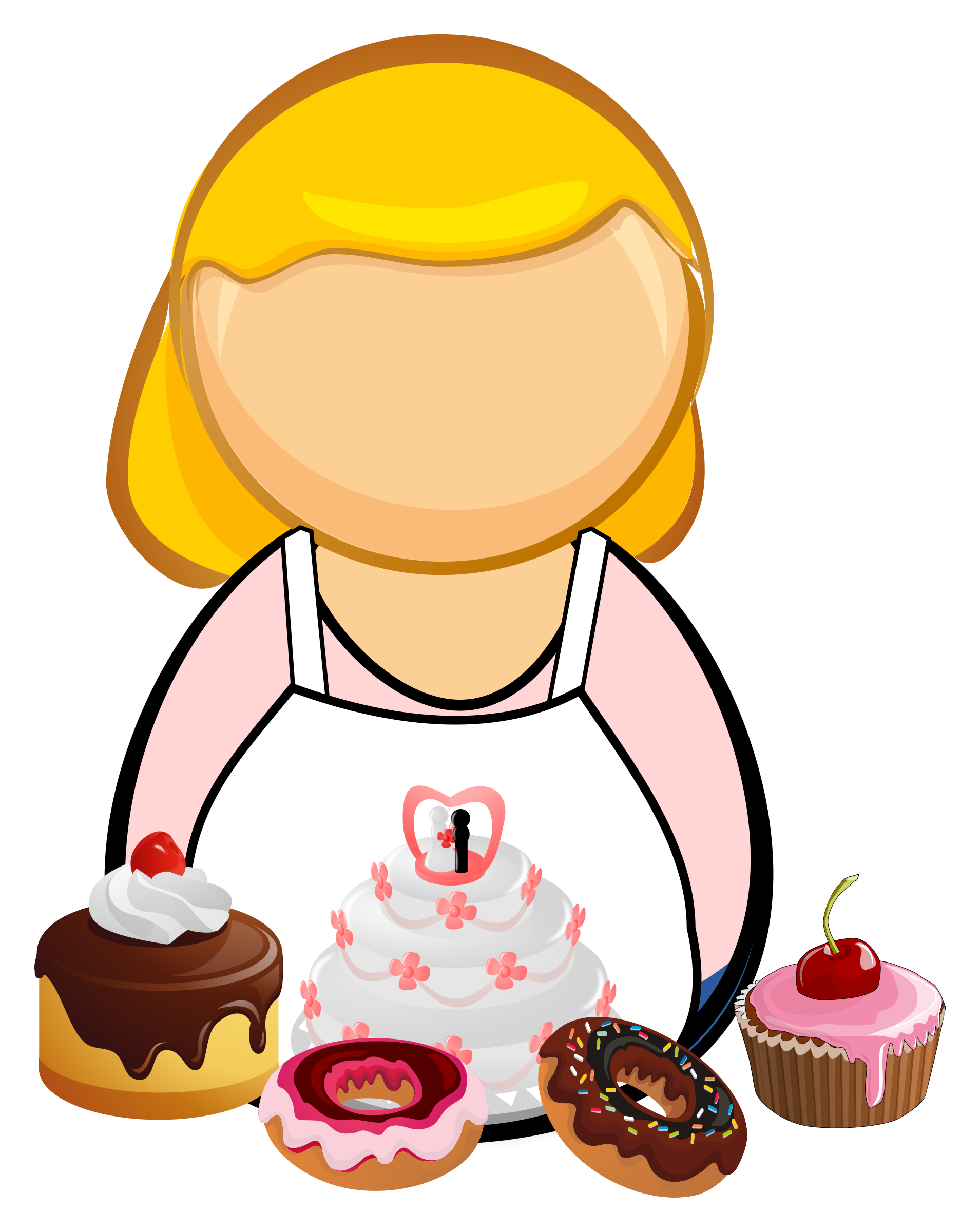 Confectioner cook big image. Clipart cake pastry