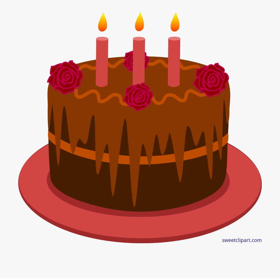 Free birthday with candles. Red clipart cake