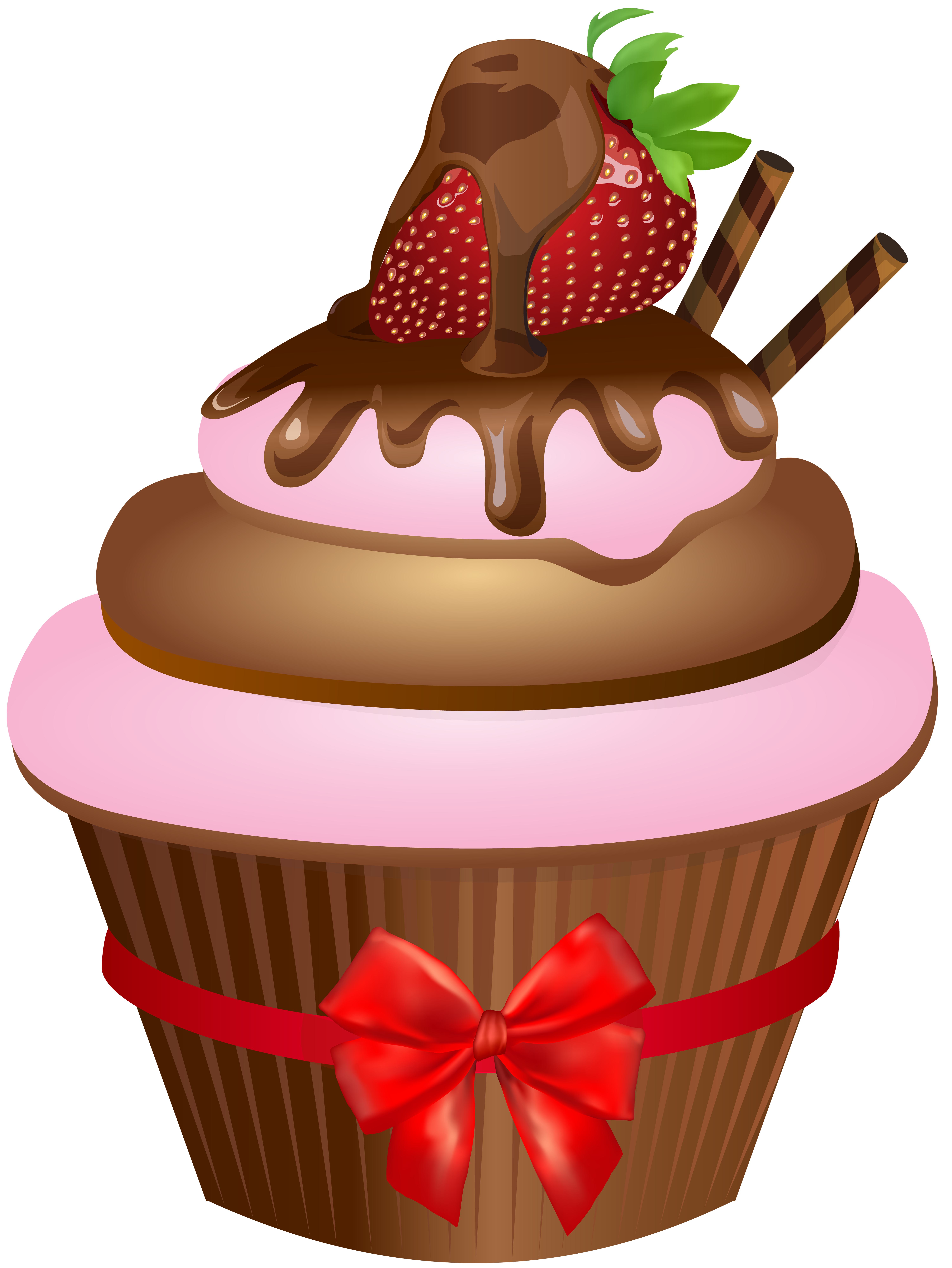 Chocolate muffin with strawberry. Muffins clipart cartoon