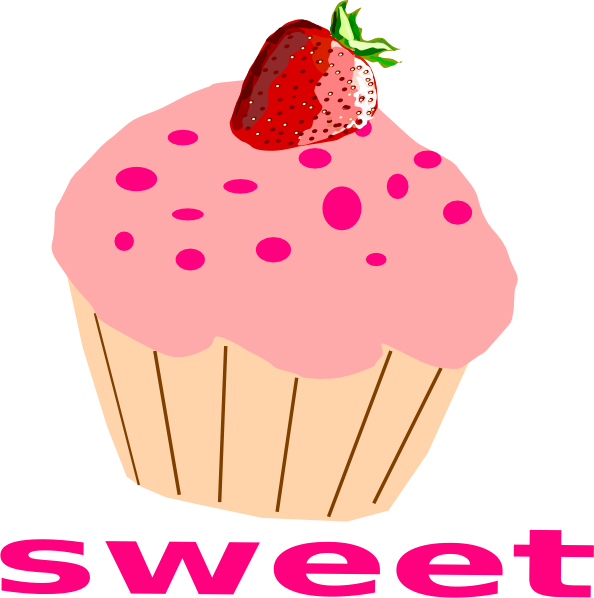 Clipart cupcake dessert. Strawberry with pink frosting