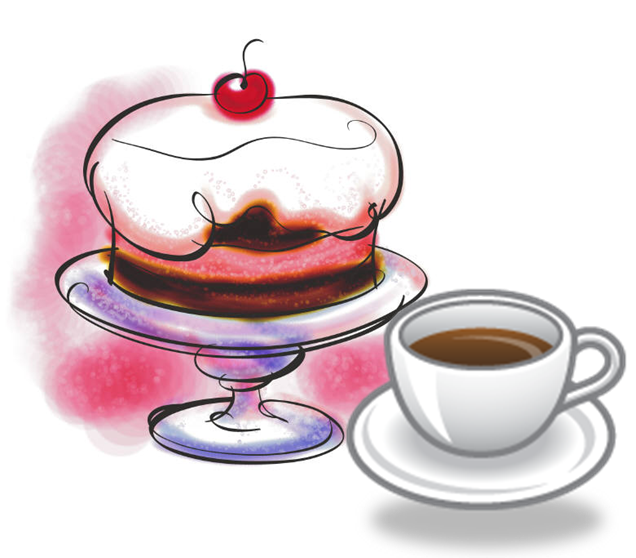 Clipart coffee cake. Tea pencil and in