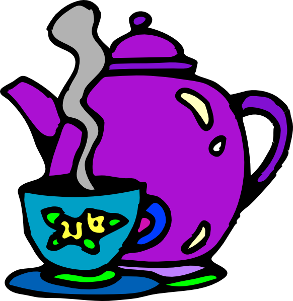 Tea kettle and cup. Clipart cake teapot