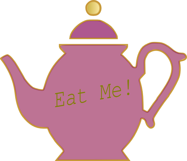 Alice in wonderland drawing. Clipart cake teapot