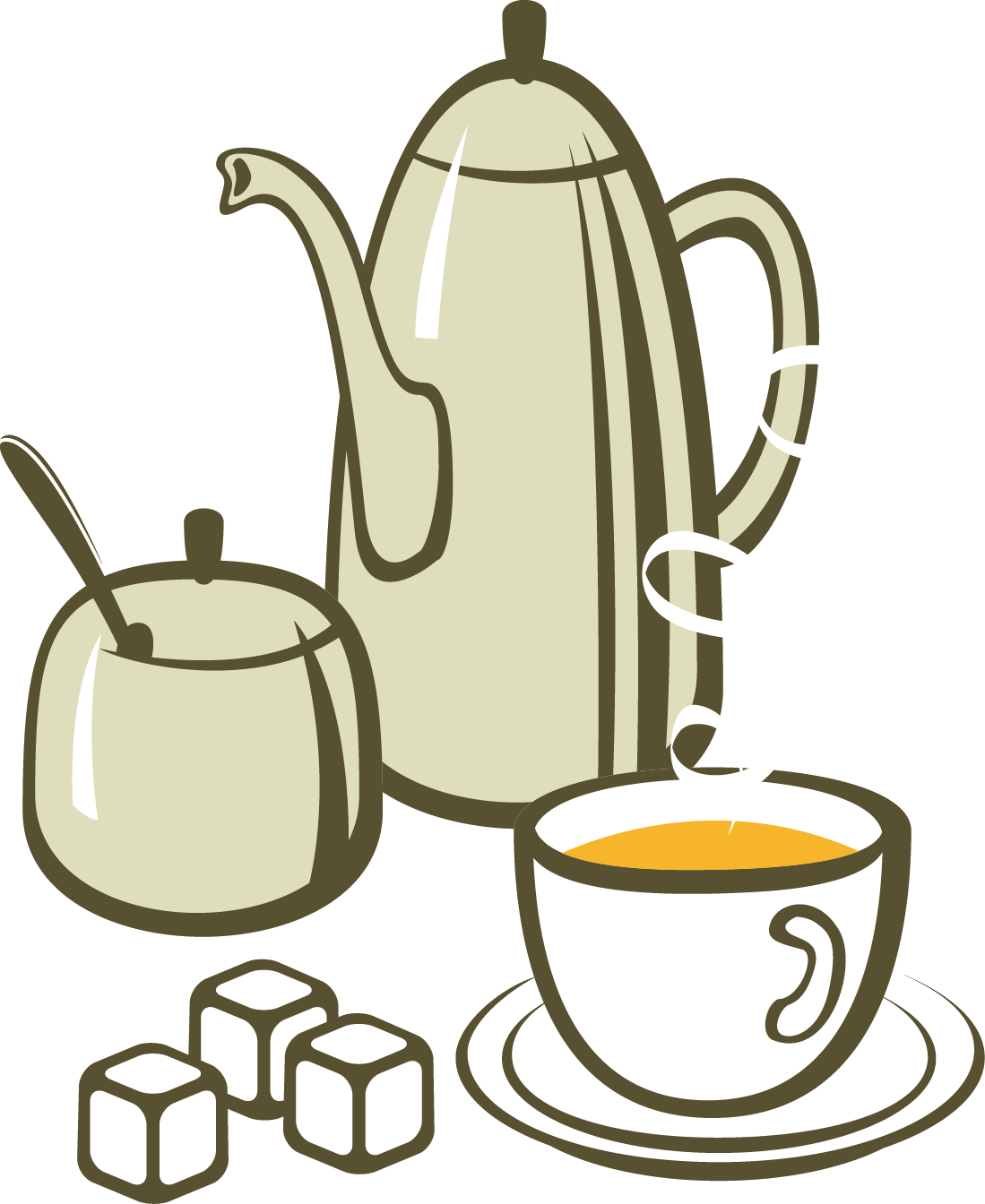 Tea coffee breakfast european. Clipart cake teapot