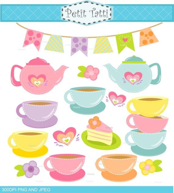Cups clipart teapot. Tea party clip art