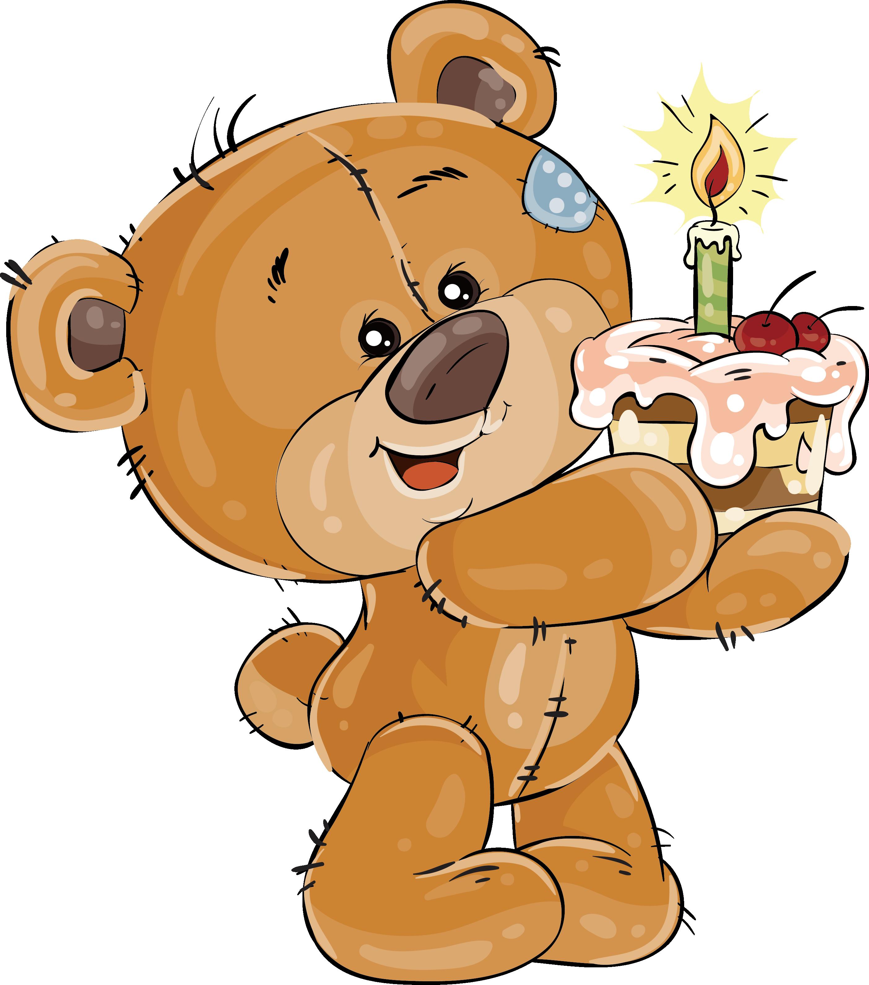Birthday with cupcakes transprent. Clipart cake teddy bear