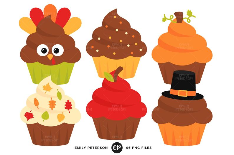 Clipart cake thanksgiving. Clip art cupcakes holiday