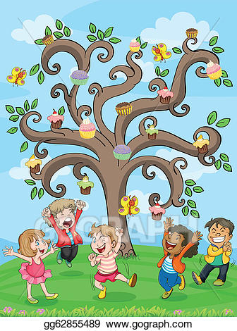 Clipart cake tree. Vector kids playing under
