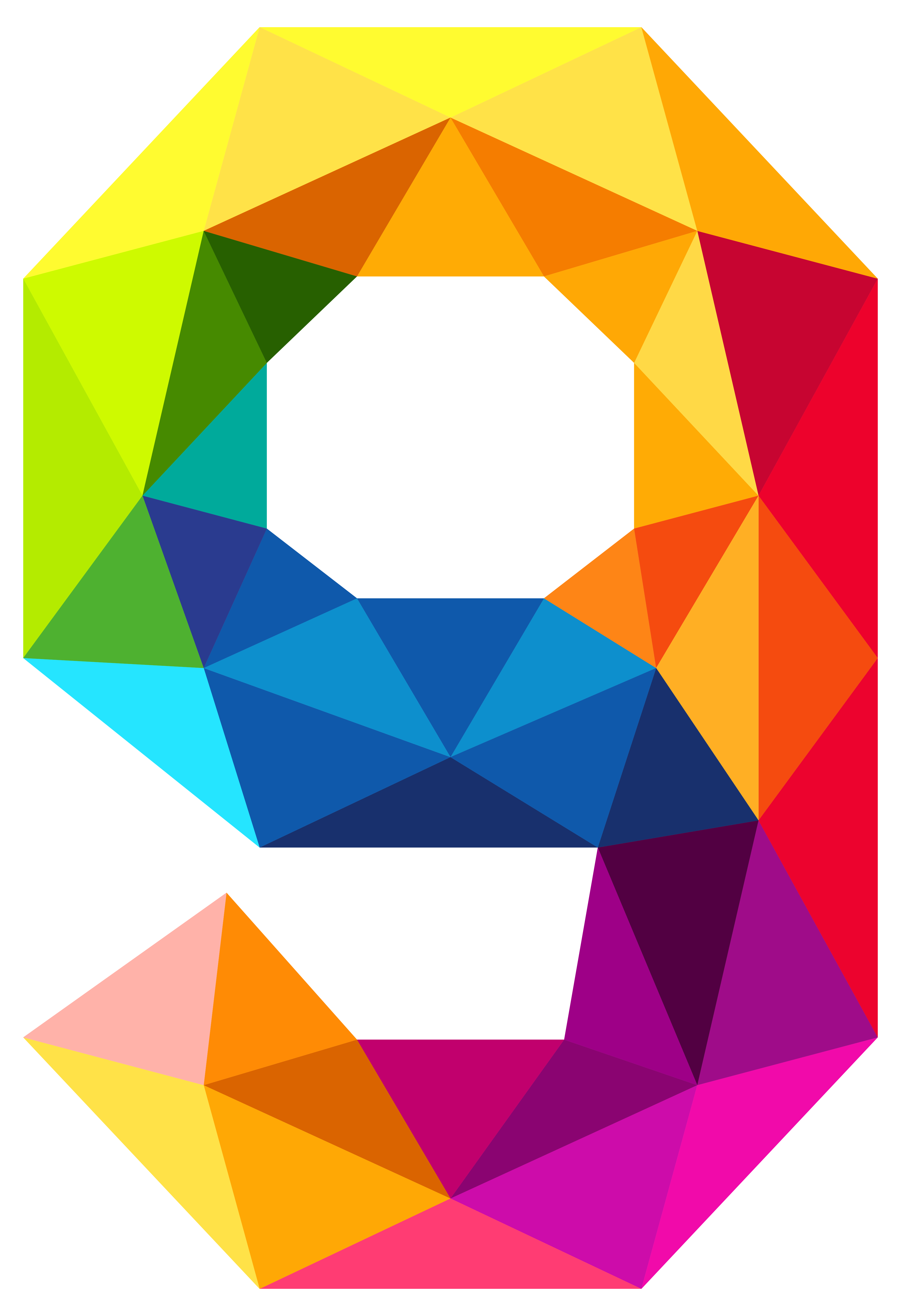 Colourful triangles number nine. Positive clipart positive influence