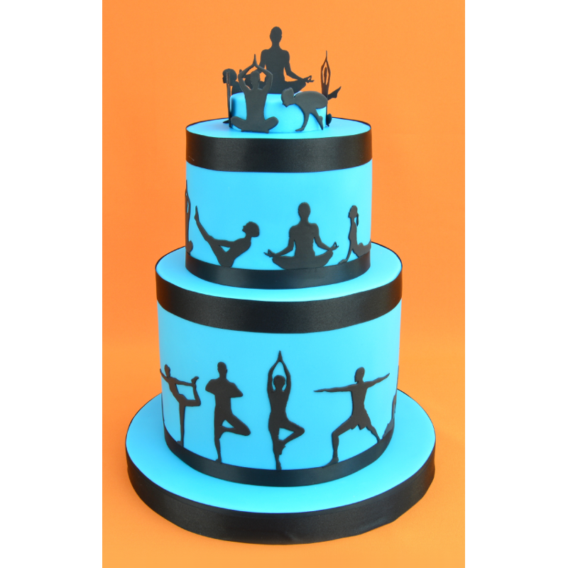 Yoga silhouette cutter set. Sprinkles clipart cake decorating