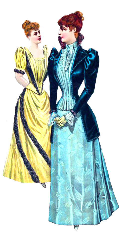 People clipart clothes. Victorian two ladies in