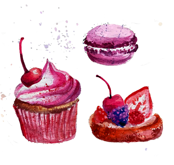 Macaron painting download clip. Clipart cupcake watercolor
