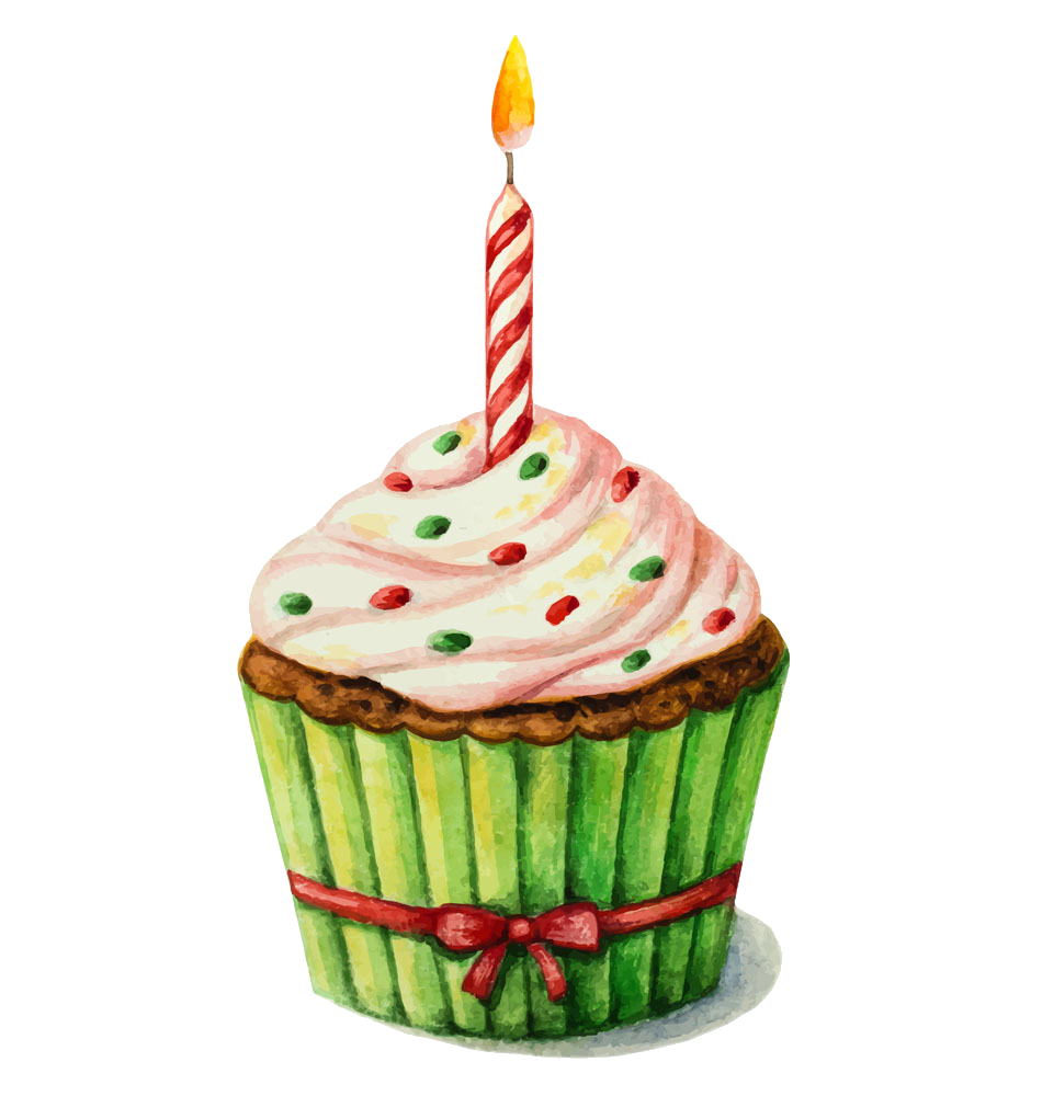 Birthday cake painting clip. Clipart cupcake watercolor