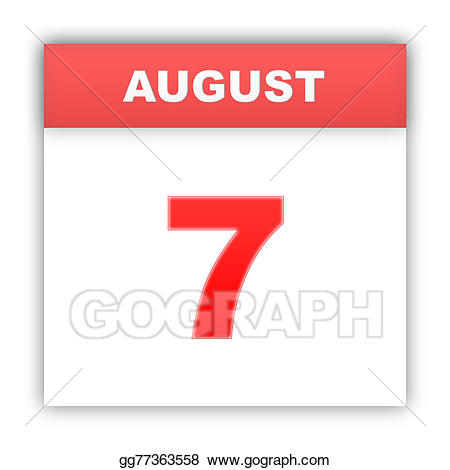 Drawing august on the. Clipart calendar 7 day