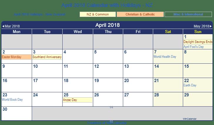 Clipart calendar april 2018. New zealand