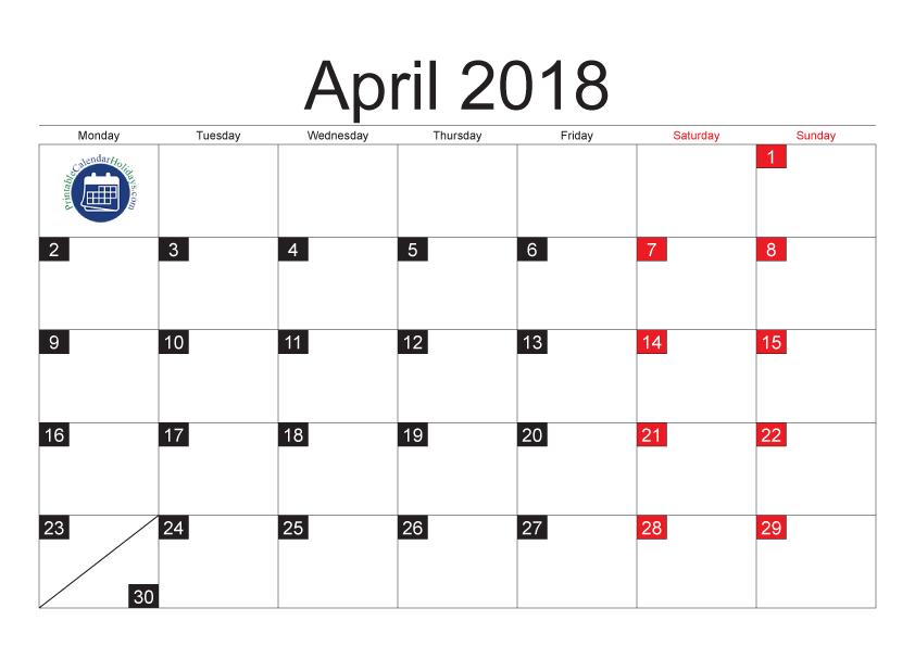 Free printable pdf. Clipart calendar april 2018