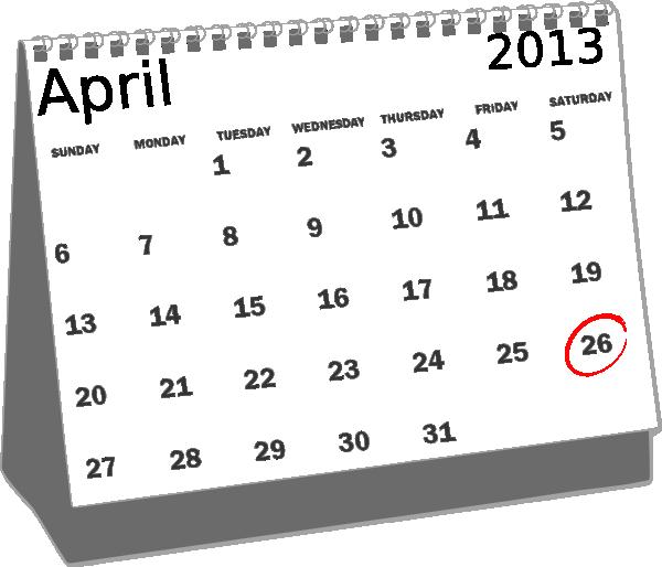 Desk clip art at. Clipart calendar april 28th