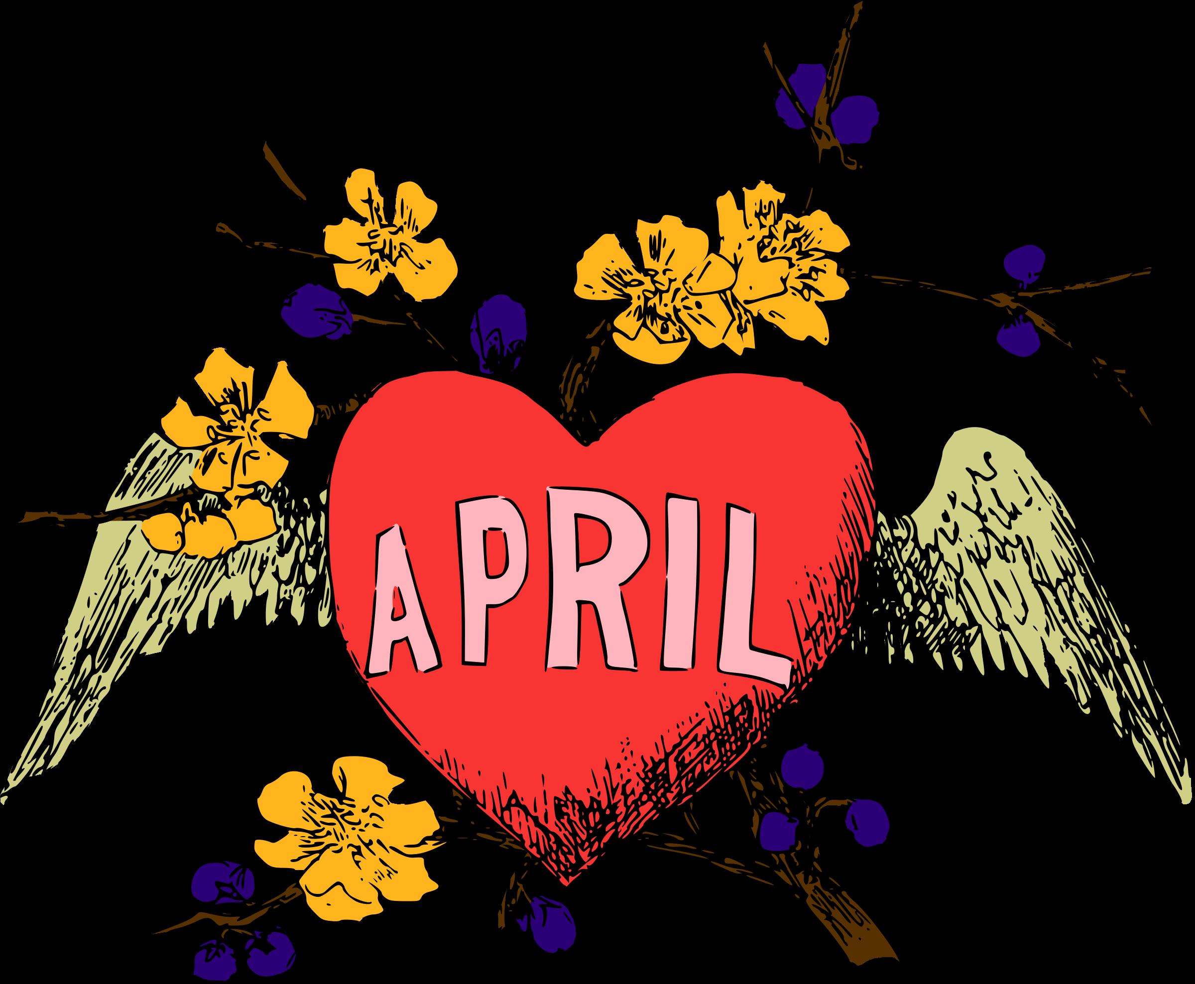 Clipart calendar april. Illustrated months colour big