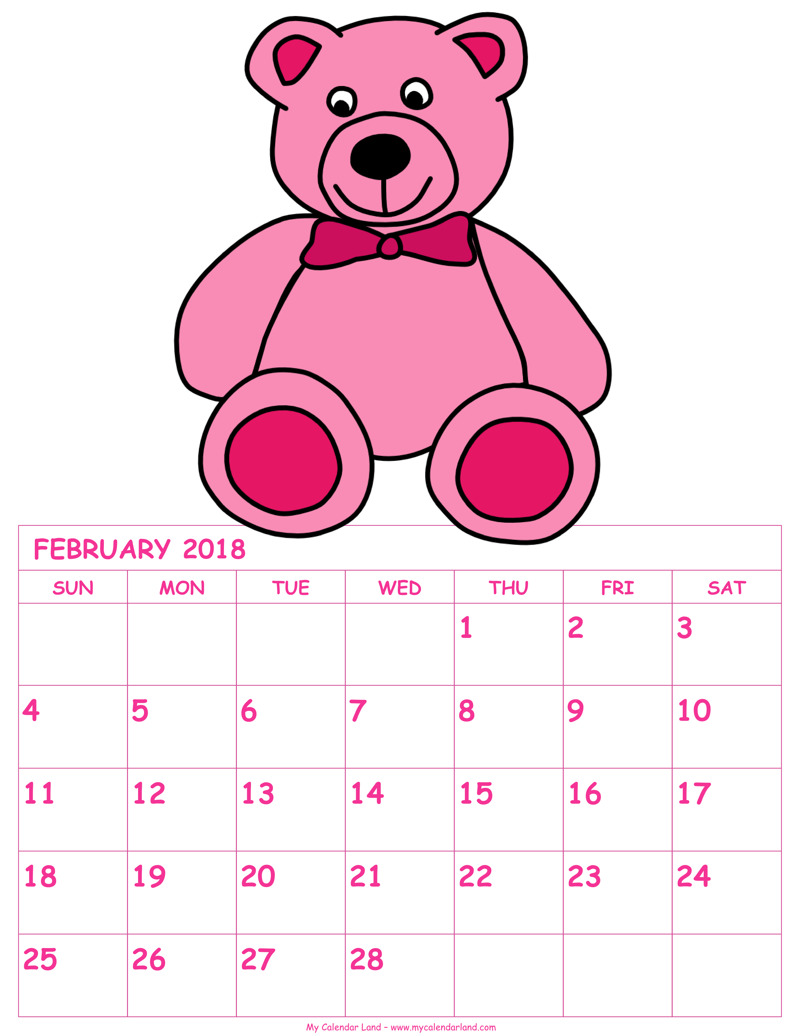 Calendar my land printable. February clipart month name