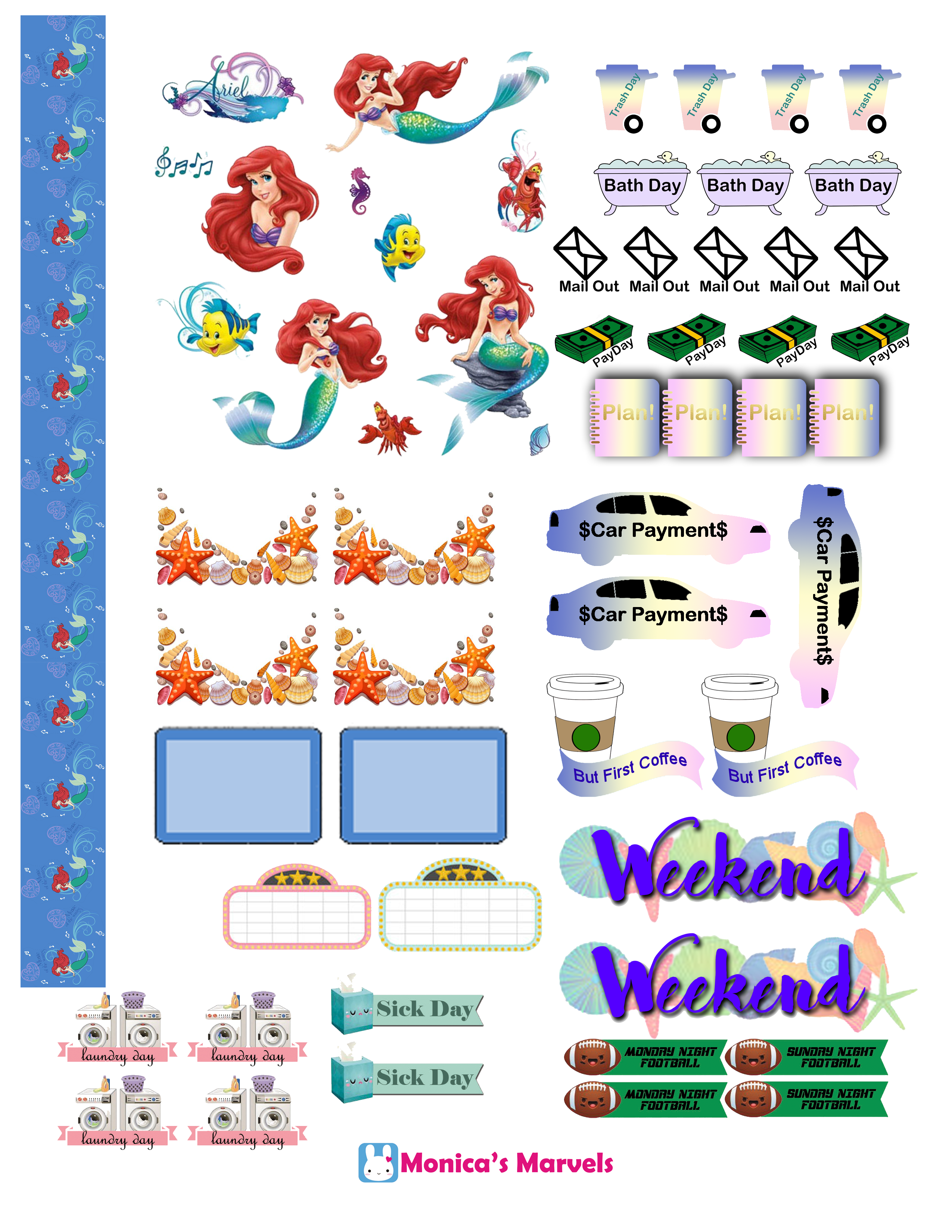 Sticker kit little mermaid. Planner clipart daily planner