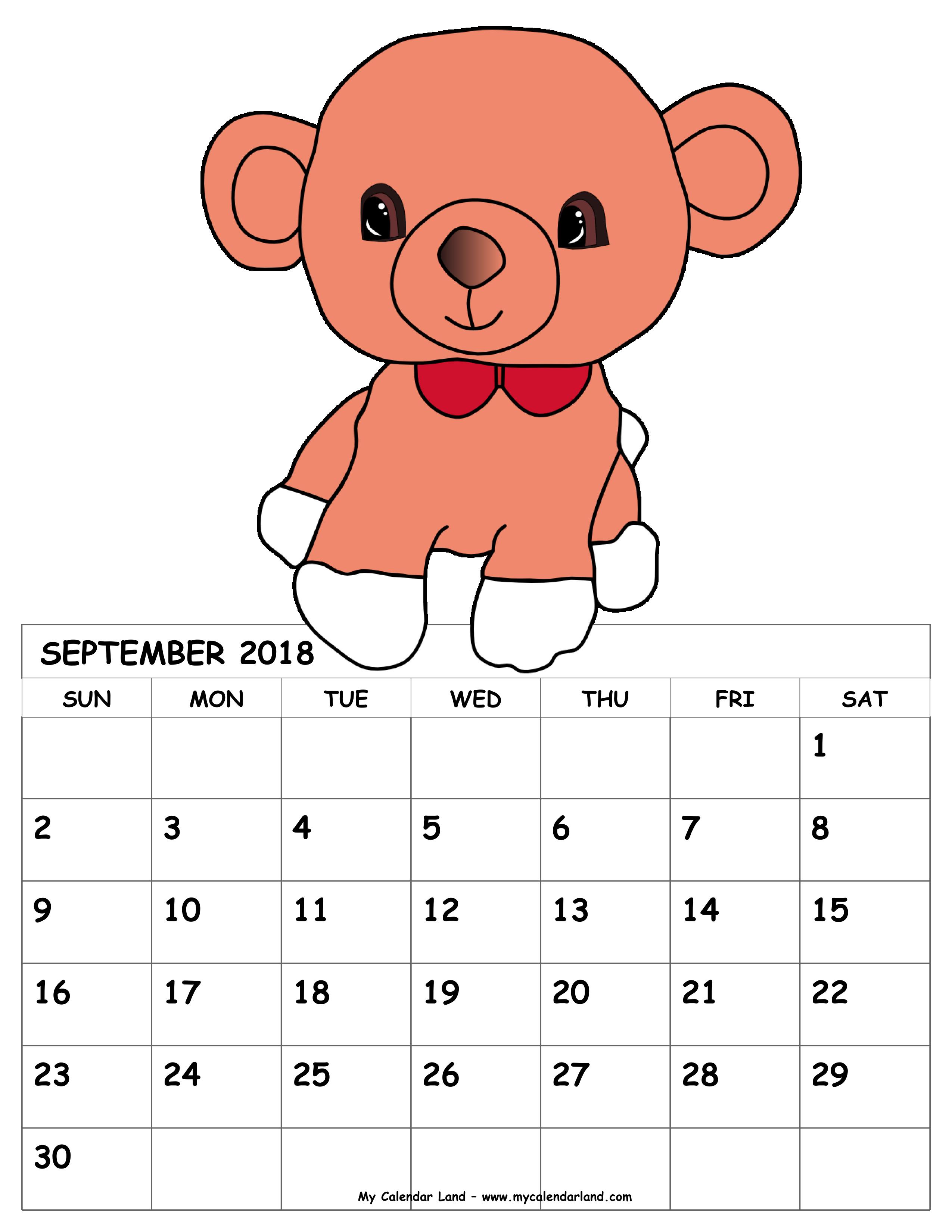 September my land pink. Clipart calendar kid