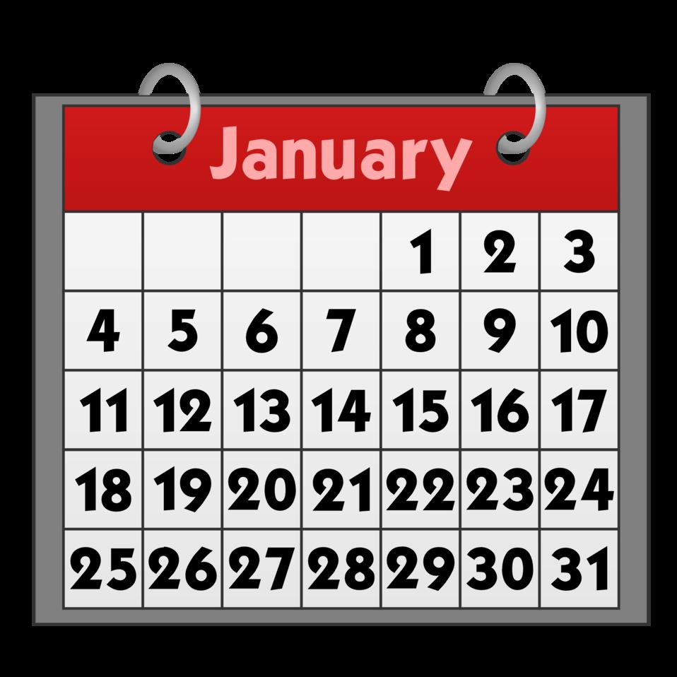 Public domain clip art. January clipart title