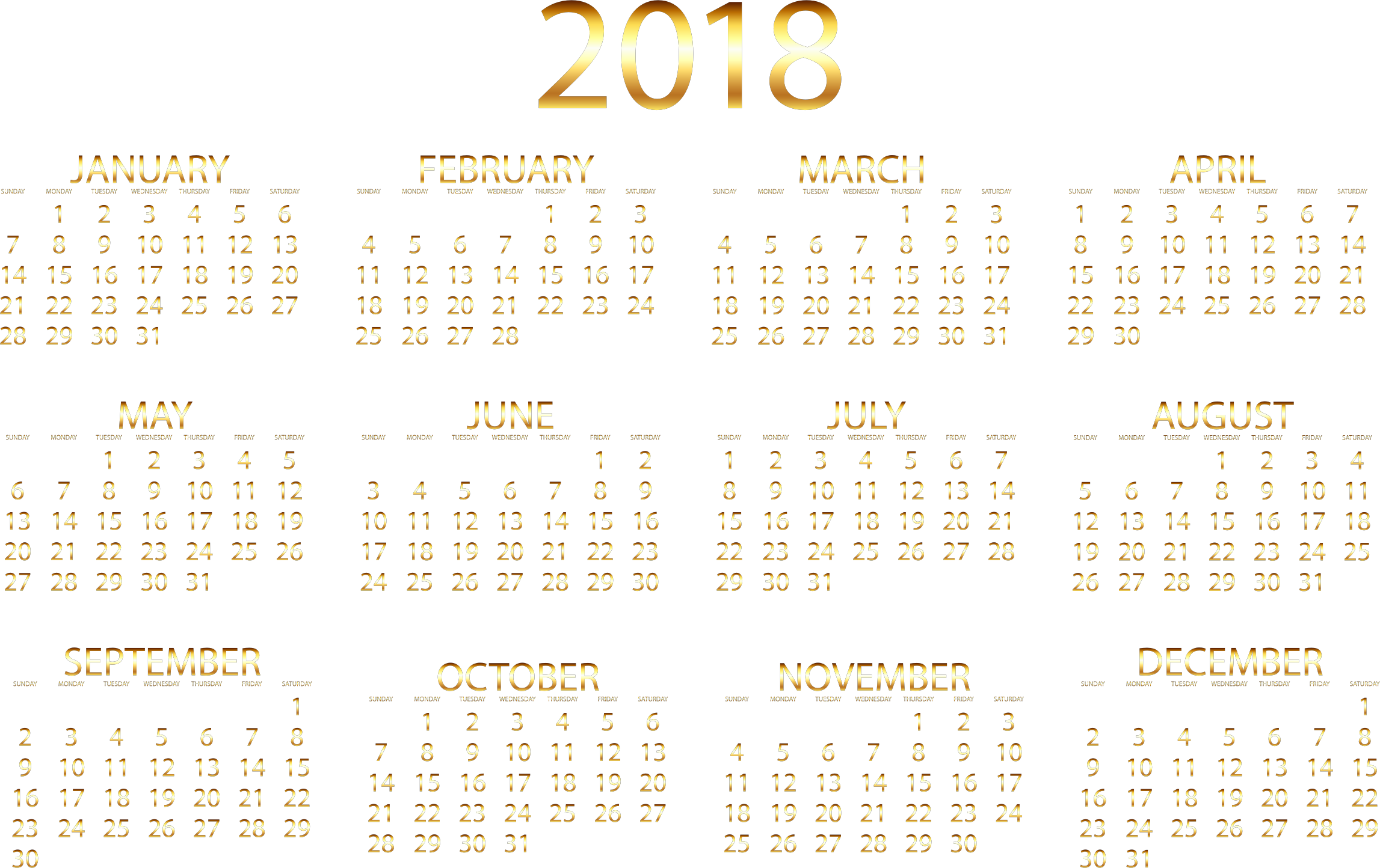 Gold no background big. Clipart calendar march 2018