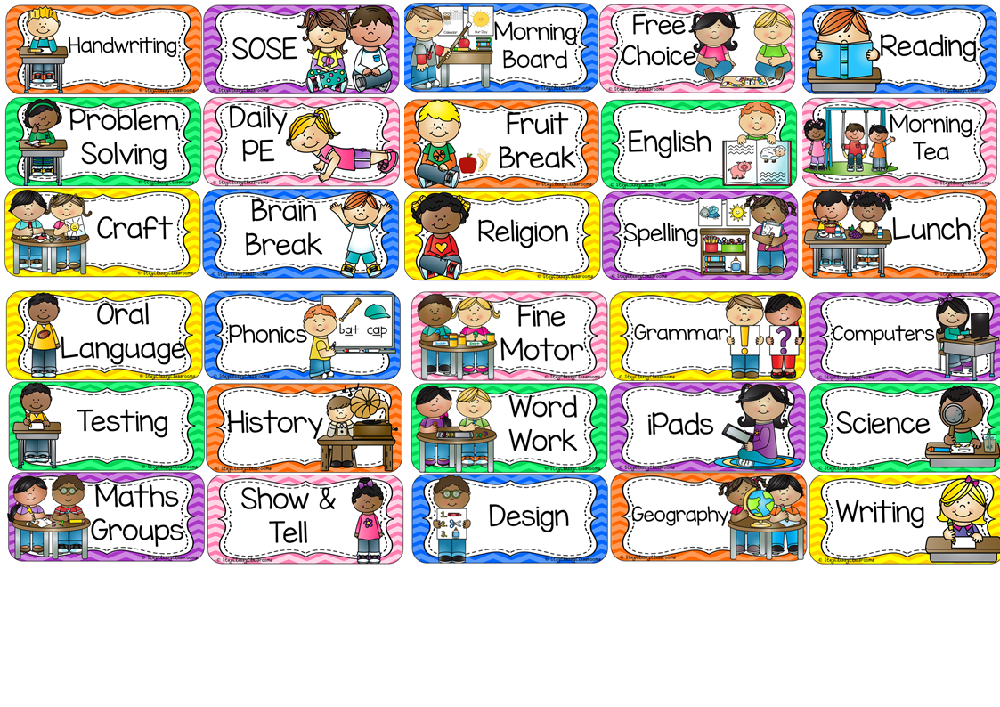 awesome classroom schedule. Organized clipart daily timetable