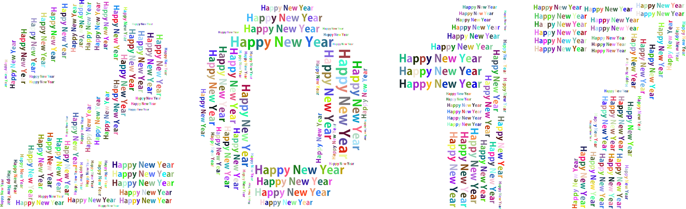 Clipart calendar new year. Prismatic happy word cloud
