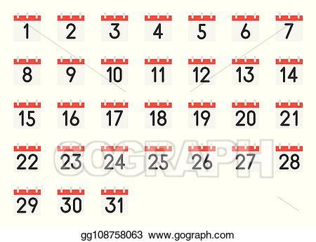 Clip art vector icon. Clipart calendar number